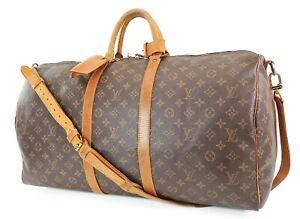 Auth LOUIS VUITTON Keepall Bandouliere 55 Monogram Canvas Duffel Bag #38589