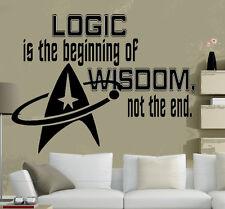 Star Trek Logo, Logic is the beginning of Wisdom Room Decor Vinyl Wall Decal Art