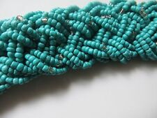 Turquoise braided ,choker, necklace/ 25ins/1.1 insW/silver ends, crystal/boxed