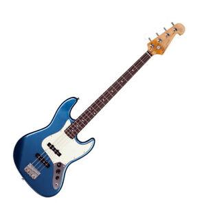 SX Electric Solid Body Bass Guitar JB style in Blue with Gig Bag