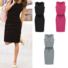 Chic Women Summer Round Neck Bodycon Slim Belt Skirt Long Pencil Dress Casual