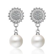 925 Sterling Silver Zircon Stud Earrings Pearl Dangle Sweet Elegant Jewellery