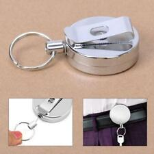 Stainless Silver Retractable Key Chain Recoil Keyring Heavy Duty Cord Wire - CB