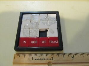 Vintage In God We Trust United States Map USA Slide Puzzle Toy