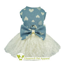 Fitwarm Pretty Bowknot Dog Denim Dress Harness for Pet Clothes D-Ring Tutu Dress