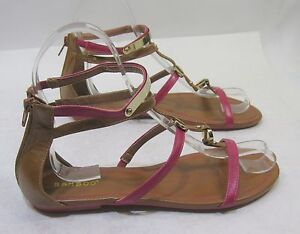 new Summer Pink/Brown Open Toe Ankle Strap Roman Gladiator Sandals women Size 8