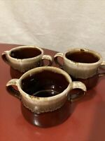 Brown Drip Glaze McCoy USA Vintage Double Handled Soup Bowls Three(3)