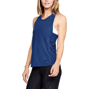 Under Armour UA Essential Banded Tk Graphic banded Ladies Blue Running Vest XS