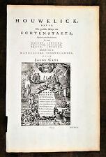 J Cats 1700 Antique Print Howelick Hochzeit Marriage stages of life Lebensstufen