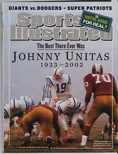 John Unitas Baltimore Colts Sports Illustrated 9/23/02 NO LABEL