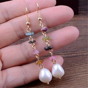 11-13mm White Baroque Pearl Earrings 18k Ear Drop Hook Real Dangle Fashion Women