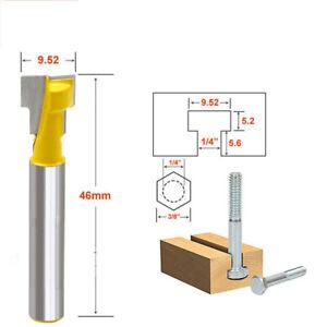 "T-Slot Cutter Router Bit 1/4""- 3/8"" Shank Steel Milling Drill Bits Wood Cutter"