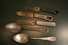 ANTIQUE WWI WWII US ARMY US NAVY KNIVES SPOONS FIELD USE  UTENSILS COLLECTION