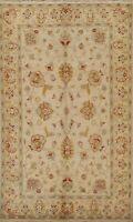Floral Ivory/ Beige Peshawar Oriental Area Rug Handmade Wool Foyer Carpet 5'x8'
