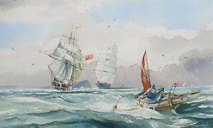 "Marine Watercolour. Coastal Waters. Unframed. Signed. 20"" x 12"""