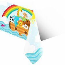 "Creative Converting 317670 Border Print Plastic Tablecover 54 X 102"" Noah's Ark"