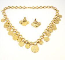 Vintage VN BALBOA Spanish Coin Treasure Necklace Earrings Set Goldtone