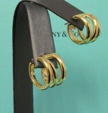 TIFFANY & Co. 18K Yellow Gold Diagonal Hoop Earrings New