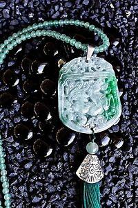 Green Carved Jade Pendant Long Necklace Jadeite Bead Choker Translucent Handmade