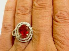 14K WG LARGE  5.0 CT Hi End Red Labradorite and Diamond Ring - Size 7.5