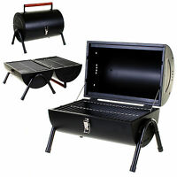BLACK BBQ PORTABLE BARREL BARBECUE TABLE TOP OUTDOOR GARDEN COOKING PATIO PARTY