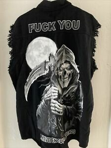 harley davidson biker vest sz L usa grim reaper sturgis✅💯😇