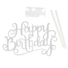 """Gold Silver """"Happy Birthday"""" Letter Cake Topper Party Supplies Decorations Tool"""