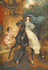 "31"" WALL TAPESTRY Lady on Horse EUROPEAN DECOR - VICTORIAN ART PICTURE"