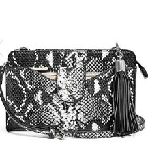 NWT GUESS Lacy multi organizer Crossbody Handbag Purse Snake print Black