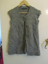 Grey Mohair Mix Hip Length Cardigan in Size 8