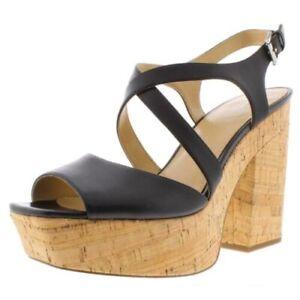 MICHAEL Michael Kors BLACK Abbott Leather Cork Dressy Platforms Shoes SIZE 6 new