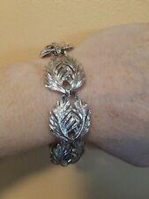 Vintage Lisner Bracelet Silver Tone 2 Leaves Very Pretty