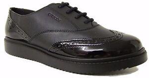Geox J Thymar Black Leather Girls School Shoes