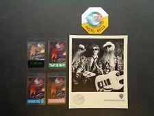 Zz Top,B/W Promo Photo,5 Original T-Bird Backstage Passes,Recycler tour 1990-91