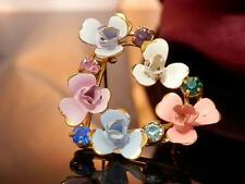 Beautiful Vintage 1940's-50's Austria Rhinestone Enamel Flower Brooch 1798j