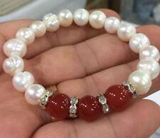 9-10mm white akoya culture pearl & 10mm red agate Elastic Bracelet