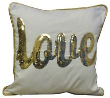 Home Decor Sequinned Gold Love Logo Sofa Cushion Pillow Accessory 45cm x 45cm