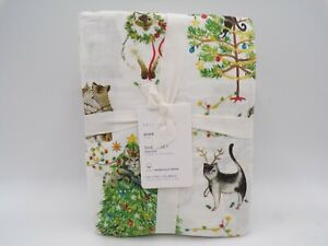 Pottery Barn Festive Cats Organic Cotton Holiday Sheet Set Queen Multi #9807H