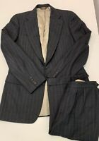 Paul Stuart Mens Suit Gray Stripe Wool 2-btn Pants 33x34 & jacket 38 -Lining Rip