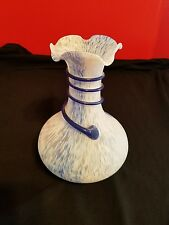 """Beautiful Frosted Blue White Art Glass 9"""" Vase"""