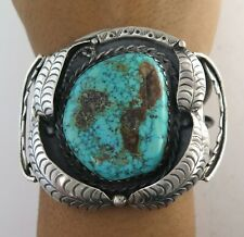 MASSIVE Old Pawn Sterling Silver & Turquoise 100 g Cuff Bracelet