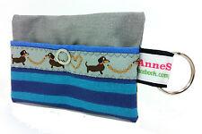 Kackbeutel Hundetüten Tasche Hundekotbeutel Spender Waste Blau grau Streifen