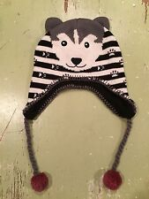 Darling Crocs Hat Husky Dog Black White And Gray  Size 2-4