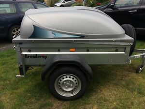 """Brenderup 1150S Camping Trailer with lockable hardtop lid, 14"""" wheels & spare"""