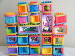 21 Fisher Price Peek A Boo Bristle Blocks Building Stacking Sensory Toys Lot 6