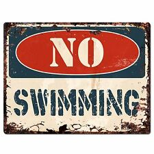 PP1366 NO SWIMMING Plate Rustic Chic Sign Home Store Shop Decor Gift