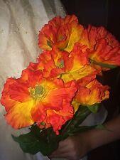 "Better Homes Artificial Flowers Décor~~ORANGE POPPIES BOUQUET~~ 19"" tall"
