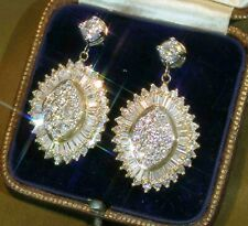 5.10ct Diamond Baguette & Round 14K Yellow gold finish Earring Vintage Antique