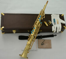 Professional Mark VI Type Soprano Saxophone Matt Brass SAX Leather Case