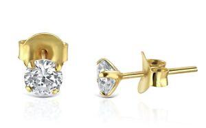 Genuine Diamond 4 Prong Stud Earrings in 10k Yellow Gold - Beautiful!